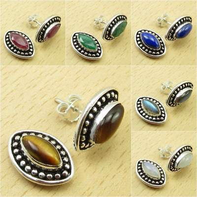 925 Silver Plated TIGER'S EYE & Other Gemstone LIGHTWEIGHT Stud Post Earrings