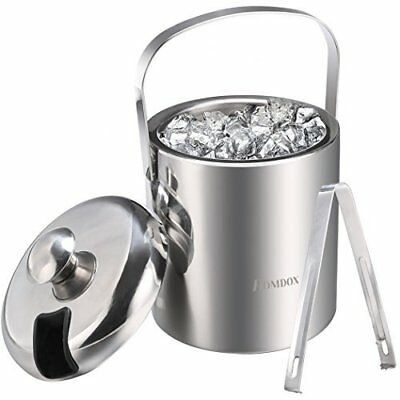 SAILNOVO Stainless Steel Double Wall Ice Bucket Ice container with Tongs and Ice