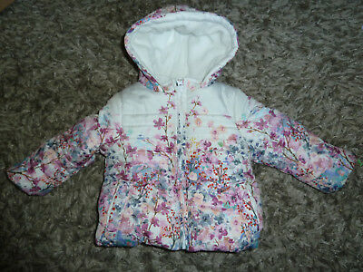 Beautiful Baby Girls Ditsy Floral Hooded Thick Winter Coat 6-9 Months UNWORN