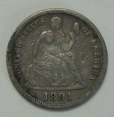 1891 Seated Liberty Dime ~ XF Details ~ 10¢ Silver Coin