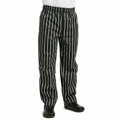 Whites Easy Fit Butchers Stripe Pants Trousers Chefs Clothing Uniform Black