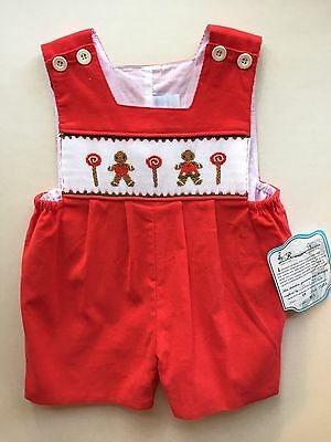 NWT Remember Nguyen Smocked Christmas Shortall Romper Gingerbread 12M 18M
