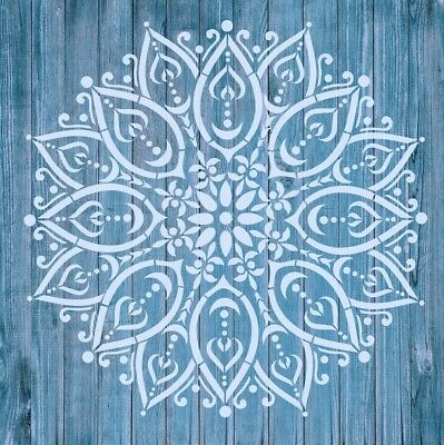 Stencil Mylar re-usable Shabby Chic Vintage Fabric Small MANDALA 100 x 100 mm