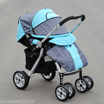 New 1 Baby Blue Fabric Collapsible Comfortable 4 Wheels Pram