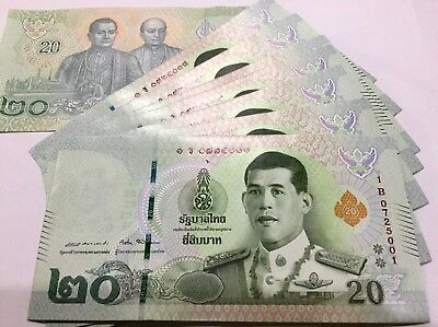 Thailand Money 20 BAHT ND 2018 P NEW UNC LOT 10 PCS.