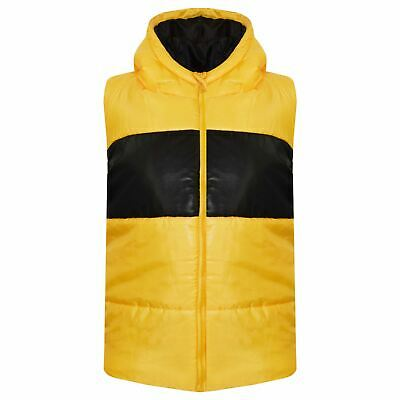 Kids Girls Boys Contrast Panel Gilet Mustard Sleeveless Hooded Bodywarmer Jacket