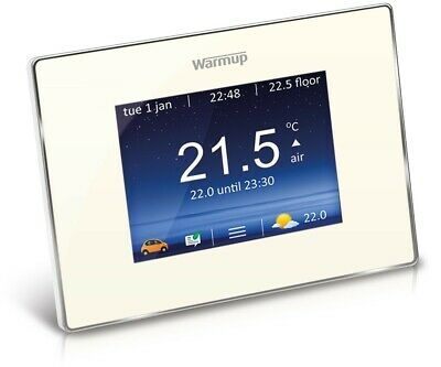 Warmup Smart Thermostat - 4iE, Touchscreen, Wi-Fi, Bright Porcelain