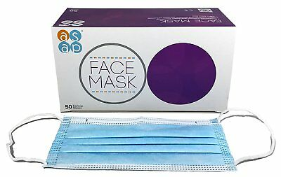 ASAP Premium Non-woven Disposable Face Masks - 3 Ply, Blue with Ear Loops Box of