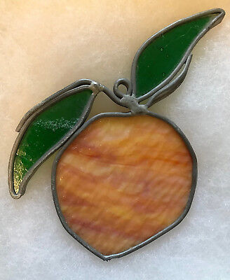 Vintage Stained Leaded Glass Suncatcher Fruit, PEACH - FREE Shipping