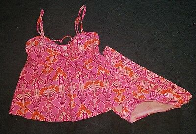 Women's M Liz Lange maternity bathing swim suit tankini top 2 pc Pink Floral set