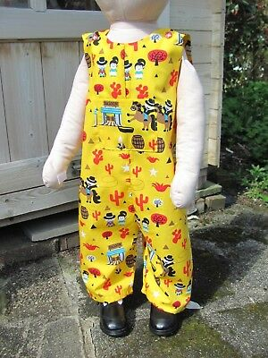 Boys Adjustable Dungarees, Yellow, Wild West,18-24 months, New, Handmade