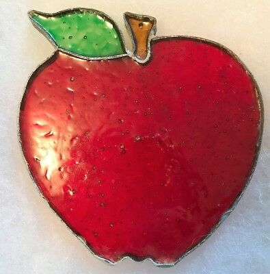 Vintage Leaded Stained Glass APPLE Suncatcher - FREE SHIPPING