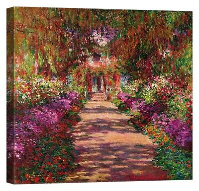 CLAUDE MONET Path in Monet's Garden Stampa su tela Canvas effetto dipinto