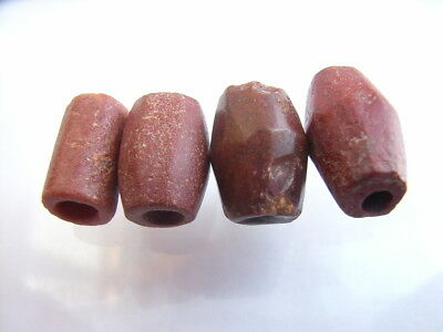 4 Ancient Neolithic Red Jasper Beads, Stone Age, VERY RARE! TOP!