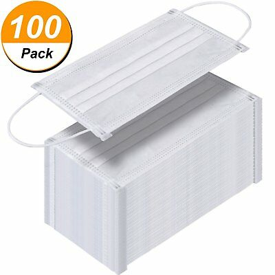 100 Pack Disposable Face Masks Breathable Dust Filter Masks Mouth Cover Masks