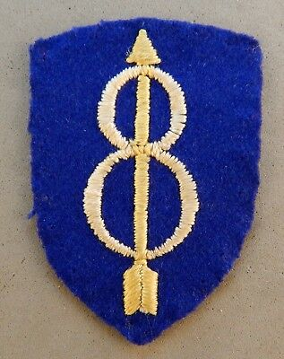 WWII World War 2 U.S. Army 8th Infantry Division Wool / Felt Used Patch No Res.