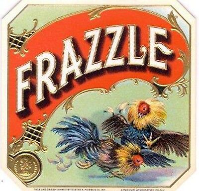 Frazzle Fighting Roosters Antique  Cigar Box Label T Shirt Small-Xxxlarge (F)