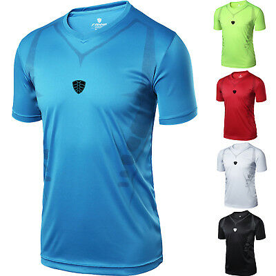 Men Breathable T Shirt Sports Running Fitness Top Quick Dry Stretch Athletic Gym
