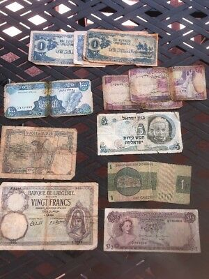 Assorted 11 Paper Note (algeria,bahamas,the Japanese Government,syria,and More)