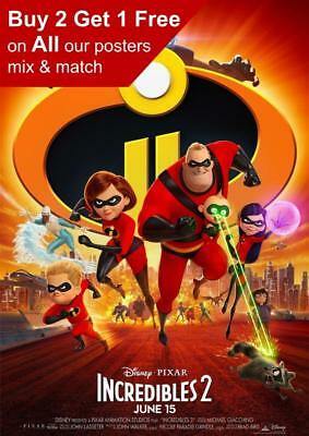 The Incredibles 2 Movie Poster A5 A4 A3 A2 A1