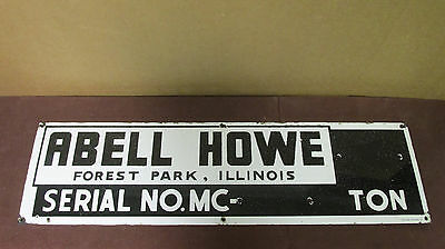 Vintage Porcelain Abell Howe Crane Sign Forest Park, IL Chicago 23 Sign 33x9 S64