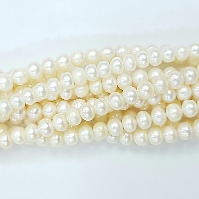 World of Jewel Perle Di Fiume Cipolline 6,0-6,5mm A Bianco