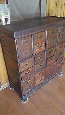 Vintage circa 1910 Oak five section stacking 24 drawer Globe file cabinet
