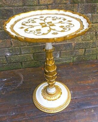 Occasional Table, White and Gilt, Paper Mache, Reproduction.