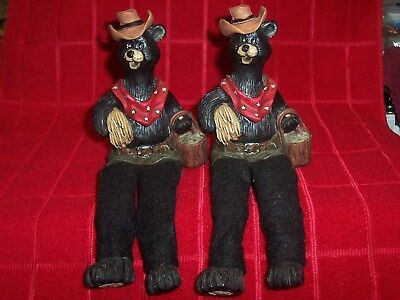 "2 Bear Shelf Sitters 8"" Tall And Sit On A Window Sill Or Mantel Read Description"