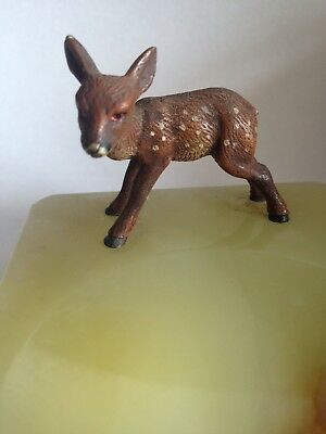 Antique Small Cold Painted Bronze Fawn Onyx Dish