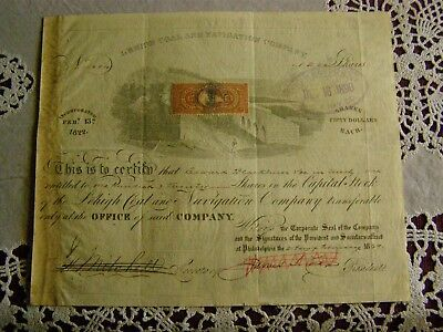 Lehigh Coal And Navigation Company Stock Cert With Revenue stamp 1867