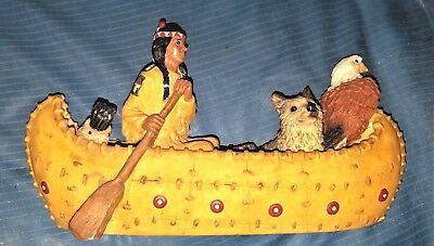 """Young's Native American Indian Canoe Wolf Eagle Resin Figurine 9.5"""""""