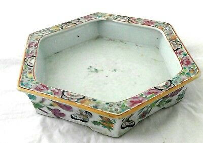 Antique Chinese Asian 19th Century Porcelain Bowl Planter Canton Painted