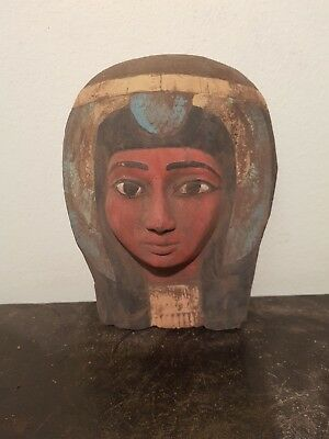 Rare Antique Ancient Egyptian Queen Nefertari Mask beauty Crowned 1279-1213BC