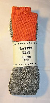 100% Cotton/Wool Socks - Grey with Orange Top and Strip - Civil War - Sale! NEW