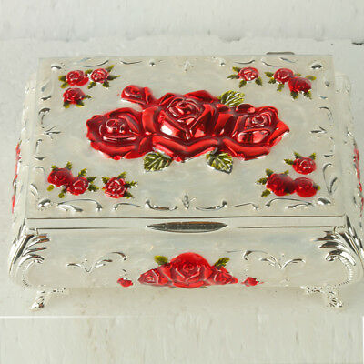 Chinese Exquisite Cloisonne Handmade Carved Rose Flower Jewelry Box @JTL3003