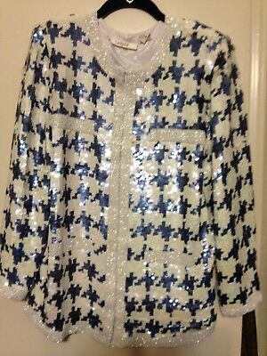 Vintage I. Magnin Multi-color White and Navy Beaded Sequin Silk Jacket M