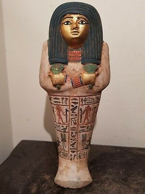 Rare Antique Ancient Egyptian Ushabti Works As Servant Water Gold1750-1640BC