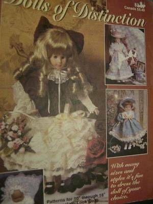 "Dolls Of Distinction Craft Sewing Pattern Booklet For 10-16"" Porcelain-Look Doll"