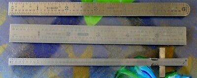 Vintage Lot Of 3 6 Inch Metal Rulers 2 General And One Sears
