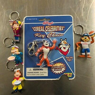 5 Kellogg's Cereal Celebrities Keychains Snap Crackle and Pop Coco Tony 1998