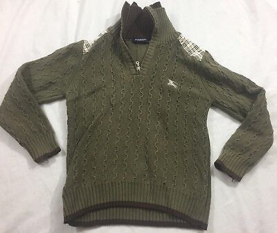 Burberry London Kids Boys Sweater XL Toddler Knit half zip plaid patch green