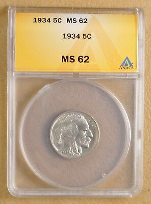1934 P Buffalo Nickel ANACS MS 62