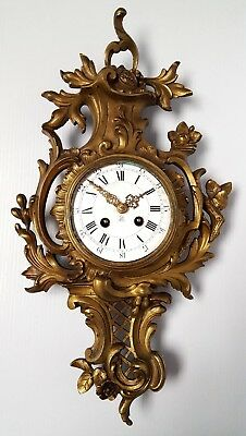 Antique 19th c French Pierced Gilt Bronze Cartel 24 hour Wall Clock Parts Repair