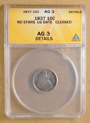 1837 Seated Liberty Dime No Stars & Large Date ANACS AG 3 Details