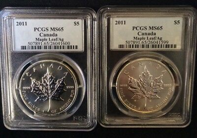 Set of 2 - 2011 Canadian Maple Leaf 5$ - 1 oz. Silver Coins Certified PCGS MS65