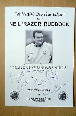 2002 A NIGHT ON THE EDGE DINNER MENU-HAND SIGNED by NEIL RAZOR RUDDOCK(ORG)26/4