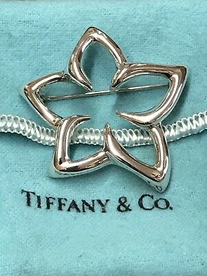 1996 Tiffany & Co Sterling Silver Plumeria Star Starfish Flower Pin Brooch Italy