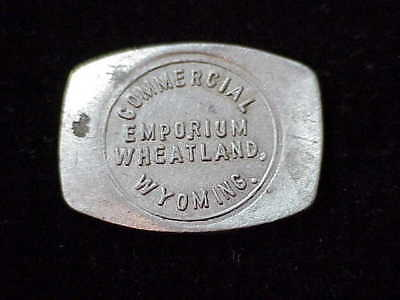 Wheatland, WY Commercial Emporium, early Wyoming saloon barrel shaped token