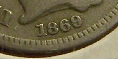 Mid-Grade 1869/1869 3-Cent Nickel, Nice Repunched Date!!